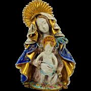 Vintage Prof. Pattarino Italian art pottery Madonna and child figure
