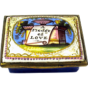 "18th Century enamel patch box ""A pledge of Love"""