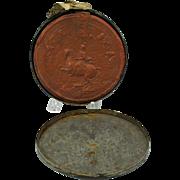 Large 1700's Antwerp wax seal original tin holder