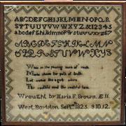 American Needlework sampler 1825 West Boylston MA