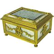 SALE PENDING Palais Royale bronze &  Mother of pearl cigar or dresser box Grand Tour