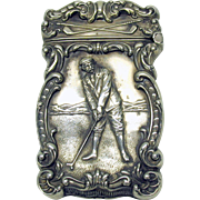 American sterling silver GOLFING golf vesta match safe circa 1900