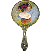 Art Nouveau porcelain portrait hand mirror-Woman with Poppy head dress