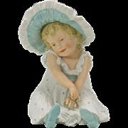 """Gebruder Heubach German bisque Sun bonnet girl piano baby figure 9"""""""