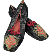 Early 19th Century embroidered square toe Ladies shoes with heel