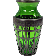 """SALE PENDING American Arts & Crafts pewter overlay green glass vase 10"""" Derby Silver Comp"""