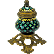 19th Century petite French enamel inkwell on gilded bronze base