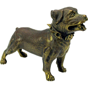 Large vintage bronze or brass dog with a spiked collar-Rottweiler