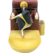 Vintage Schafer Vater German bisque match striker-elongated woman in armchair