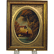 Vintage original European miniature oil painting would suit large scale doll house