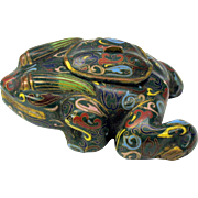 Unusual antique Chinese cloisonne FROG lidded pot or inkwell