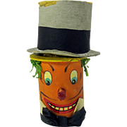 Rare antique German pumpkin with Top Hat Halloween noisemaker