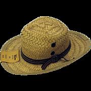 True vintage Salesman sample straw Men's hat perfect for a Teddy Bear