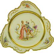 Unusual shape Dresden hand painted porcelain cabinet plate Romantic scene