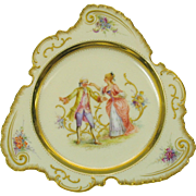 Unusual shape Dresden hand painted porcelain cabinet plate Blind Man's Bluff scene