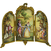 Finest Viennese enamel miniature tri fold dressing screen double sided gilded bronze frame