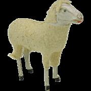 SALE PENDING Large size antique German Putz wooly sheep
