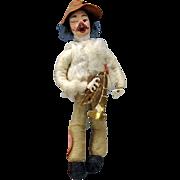 SALE PENDING Antique spun cotton Christmas ornament-Trumpet or horn player paper mache face