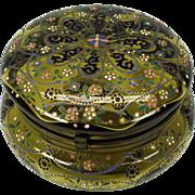 SALE PENDING Larger antique enameled Moser glass dresser box