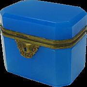 Antique French blue opaline glass dresser casket box Grand Tour