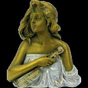 Ernst Wahliss Teplitz Art Nouveau porcelain bust Lady with Violin