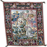 "Large vintage hanging needlework tapestry Roman & horse scene 39"" by 44"" petit point"
