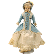 """SALE PENDING 22"""" Antique paper mache glass eyed doll in GREAT outfit"""