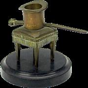 Antique bronze Top Hat & DOG handled cane match safe striker on marble base