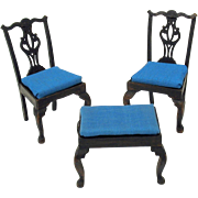3 pieces of doll house Chippendale furniture 1979-2 chairs and footstool