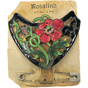 Rosalind Art Nouveau enamel corset adjuster belt buckle form on original card A