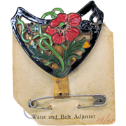 Rosalind Art Nouveau enamel corset adjuster accessory belt buckle form on original card B