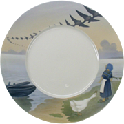 Very unusual early Royal Copenhagen scenic plate Dutch girl & flying geese 8 3/4""
