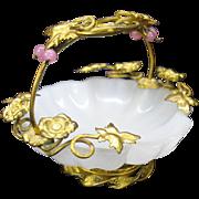 Grand Tour Palais Royale miniature ormolu and opaline glass basket