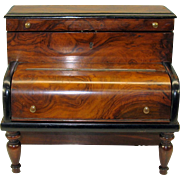 Amazing Biedermeier PIANO inkwell stationary box combination