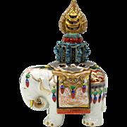 Lavish early German porcelain ELEPHANT perfume lamp Art Deco