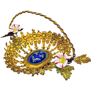Victorian miniature ormolu enamel and porcelain basket