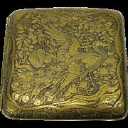 Fine Japanese damascene cigarette case with Peacock