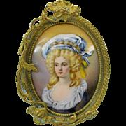 Antique French enamel Ladies portrait in gilt bronze Art Nouveau frame