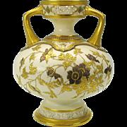 BIG raised gilded enamel Royal Worcester porcelain vase with reticulation 1880's