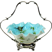 Vintage glass Brides basket with painted birds silver plate holder