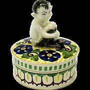 Rare figural Art Deco Royal Copenhagen FAUN powder box jar artist signed