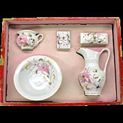 Antique dolls porcelain decorated wash basin set in original box