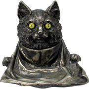 SALE PENDING Antique JB plated metal CAT with glass eyes and bib inkwell