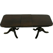 Doll house or miniature semi mechanical mahogany dining room table with leaf