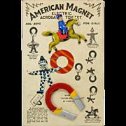 Vintage 1925 American Magnet tin toy on original card