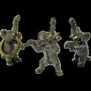 Antique 3 piece Austrian cold painted Elephant Musician band miniatures