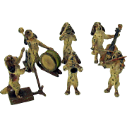 Antique German cold painted bronze 6 piece Spaniel dog band of musicians