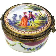 Antique hand painted Sevres patch or pill box