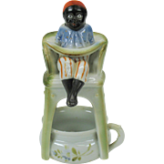 """Rare Black Americana porcelain boy on a high potty chair over chamber pot """"pink pigs ..."""