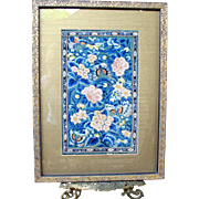 Antique framed Chinese silk embroidered textile panel butterflies flowers